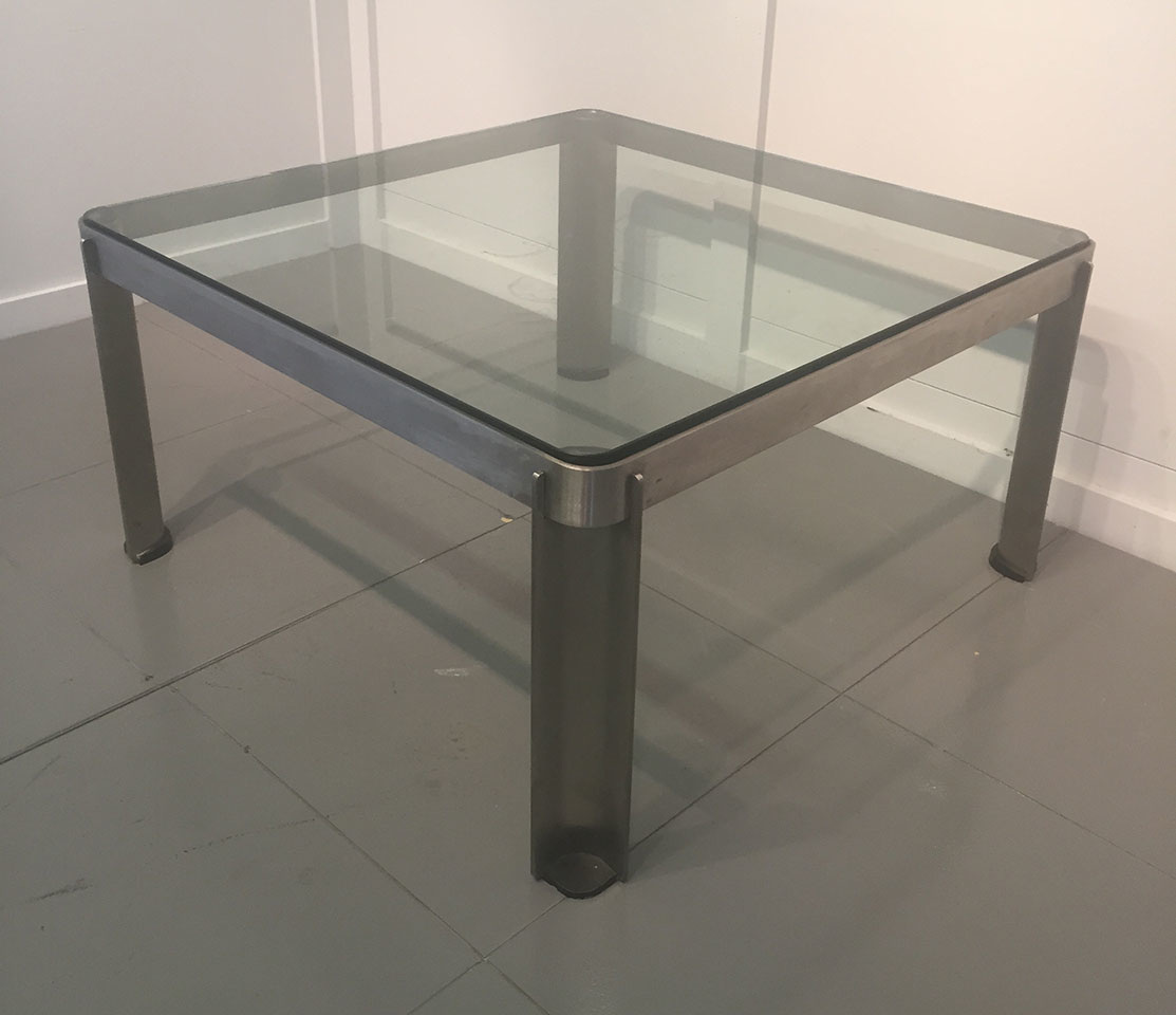 Square steel coffee table italian c 1970 Metal square coffee table